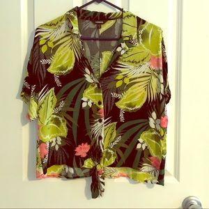 Express resort style tropical button down shirt S